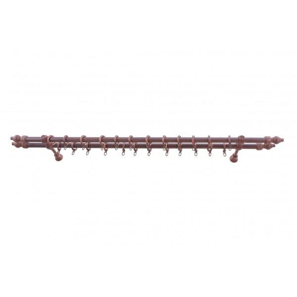 Galerie dubla lemn masiv, culoare mahon, model Filigrano, KIT COMPLET