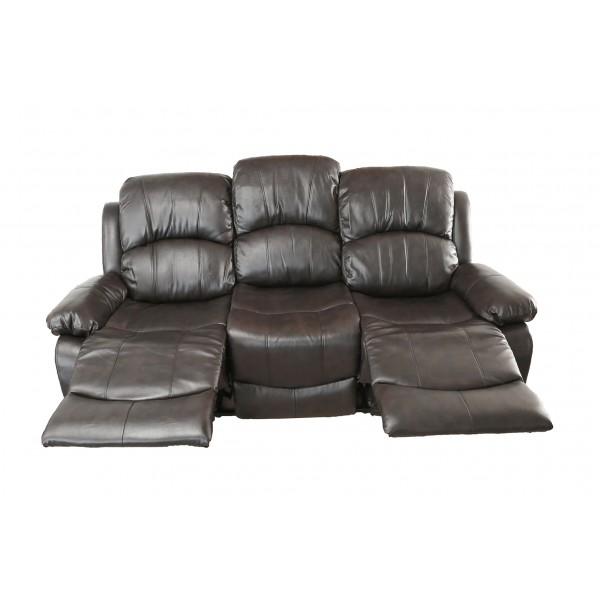 Canapea Ted, maro, cu 2 reclinere si 3 trepte de confort