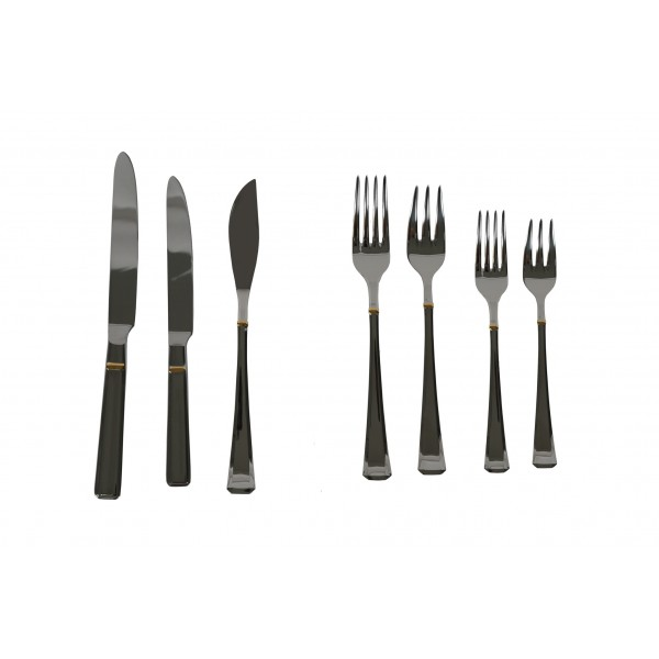 Set of stainless steel Marbella cutlery 139 pieces Leonardo Oro